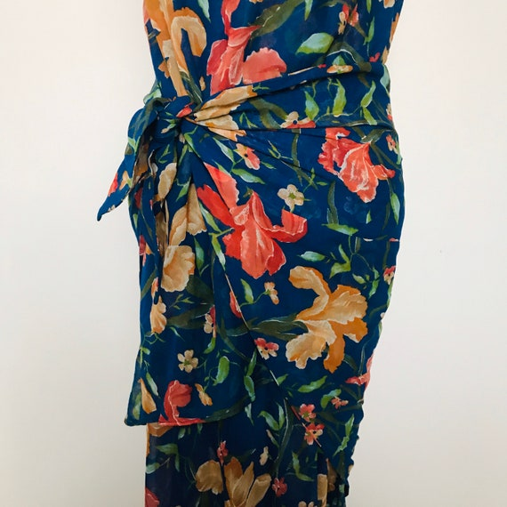 Vintage dress, sarong, wrap, orchid, iris print tiki, Liberty of London, 1980s does 30s, UK10 12, 1920s, cotton voile, drop waist