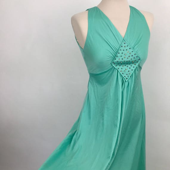 Vintage maxi dress aqua green 1960s evening silky jersey long beaded gown Mod 70s Scooter girl prom UK 6 petite