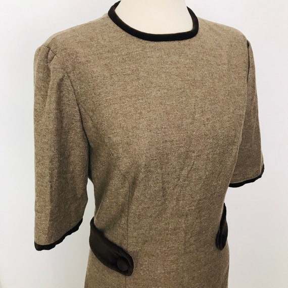 1960s dress, mod dress, wool dress, shift,brown,velvet trim, knee length,day,UK 8, scooter girl 60s style Jackie O, 60s style, handmade