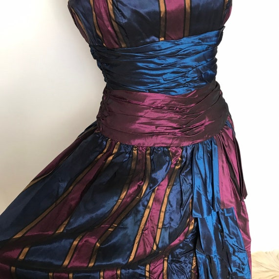 Vintage dress,bustier dress,striped,boned strapless,burlesque,circusrayon taffeta party 1950s style evening alt girl goth prom UK 6 8