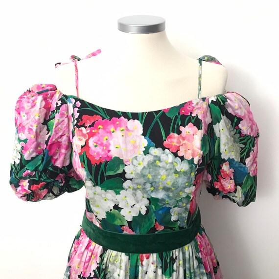 Vintage dress, cotton dress, boned, off shoulder, chintz,floral cotton, cocktail gown, 80s does 50s, 30s,petticoat,OTT,ballgown,gypsy,