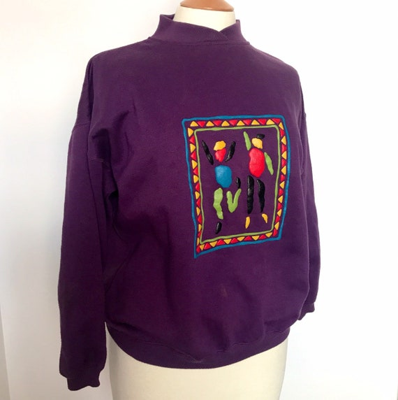 Vintage sweatshirt,purple sweater,vintage dash,1980s top, jumper 1980s Pretty in Pink style 80s nu wave medium