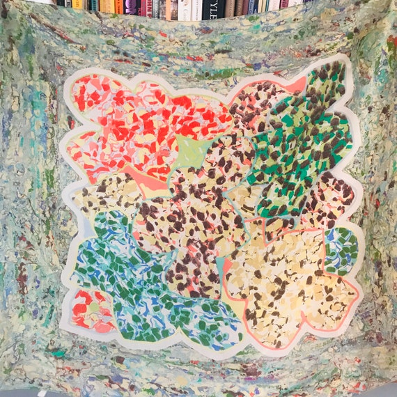 Vintage scarf,vintage silk,square,Novelty print,abstract,painterly,Marbled,swirling,marbling,40s,50s,headscarf,Avant garde,rainbow