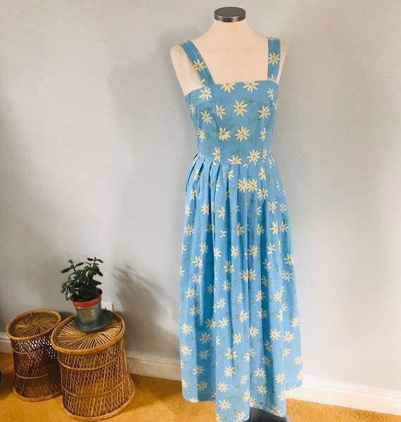 Vintage dress,Laura Ashley,cotton dress,daisy print,blue floral,strappy,80s does 50s,UK 12, flowery,flared skirt,1950s style,long