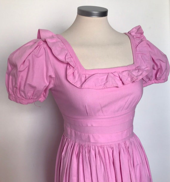 Vintage Dress, regency style,unlabelled Laura Ashley pink cotton historical,Jane Austen,Maxi Dress,LARP 80s bridesmaid UK 6 8 crinoline lady