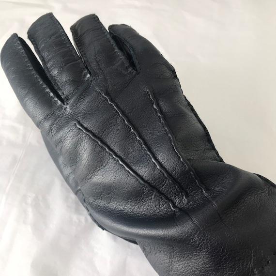 Vintage gloves navy leather short gloves wool lined size 9, blue leather gloves 1950s 40s, police gloves