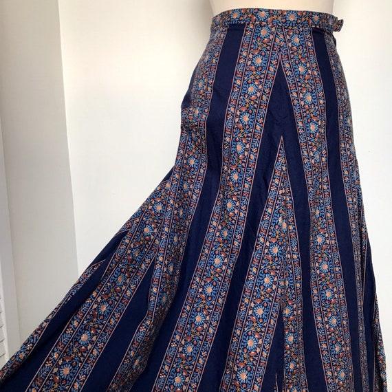 vintage skirt,maxi skirt,striped,peasant,chevron,prairie skirt, A line,biba style,hippie,festival long boho high waisted,UK 6,blue,ditsy