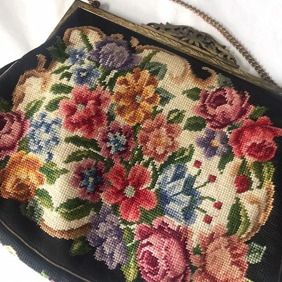 1920s purse,J B & Co Vienna Handwork,skilled needlepoint,rose,handbag,chain handle,20s bag,ornate,metal frame,needlework,wedding