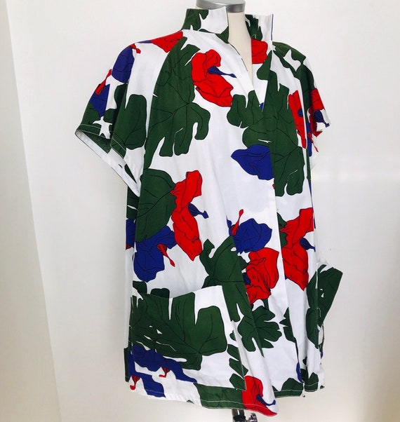 Vintage swing jacket, beach cover up,vintage hawaiian print,split back,tiki, jacket,beachwear,tropical,80s does 50s,swimwear L, cotton