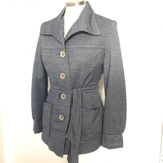 Vintage jacket, Mod, 70s jacket, polyester knit, belted jacket, denim look,jersey, buttons UK 8 10, 1970s wide collar