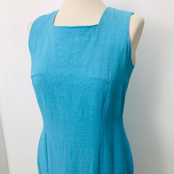 Mod dress, turquoise blue linen, moygashel,shift 1960s, small, petite fit 60s vintage wedding UK 10, GoGo scooter girl