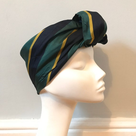 Vintage scarf,1950s scarf,college scarf,striped,woven stripes,satin,vintage square,menswear,blue,green,gold,turban, 1940s,college scarf