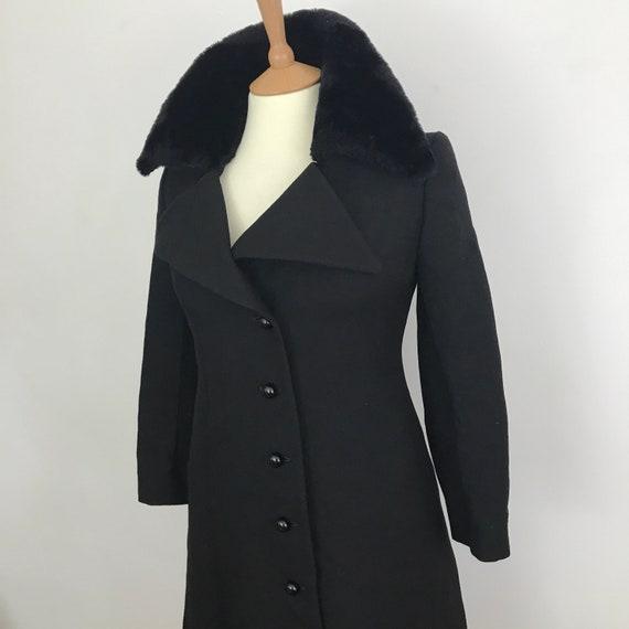 Vintage coat 1970s black wool fur trim, Gothic, macabre, boho military feel, UK 10 12, Steam punk, victorian, 70s, Biba style, winter