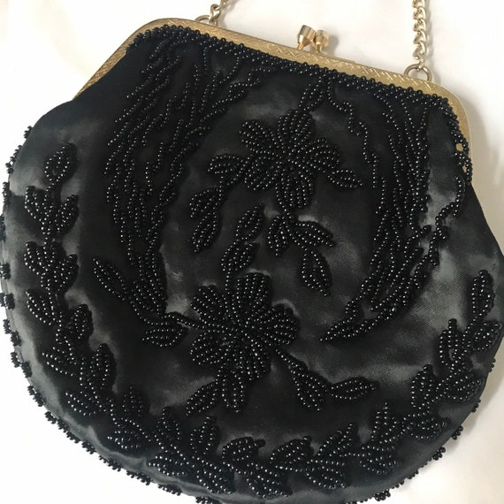 Vintage handbag,small evening purse,black,black satin,beaded purse handbag,chain bag,wedding,bridesmaid,goth,gold,beading