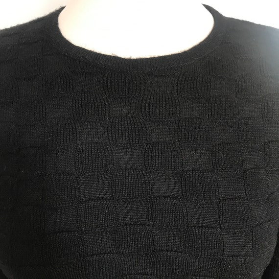 Vintage tight sweater,black sweater,wool,50s top,long sleeves,basket knit,Bad Girl,UK 8,round neck,Jaeger,1950s,60s