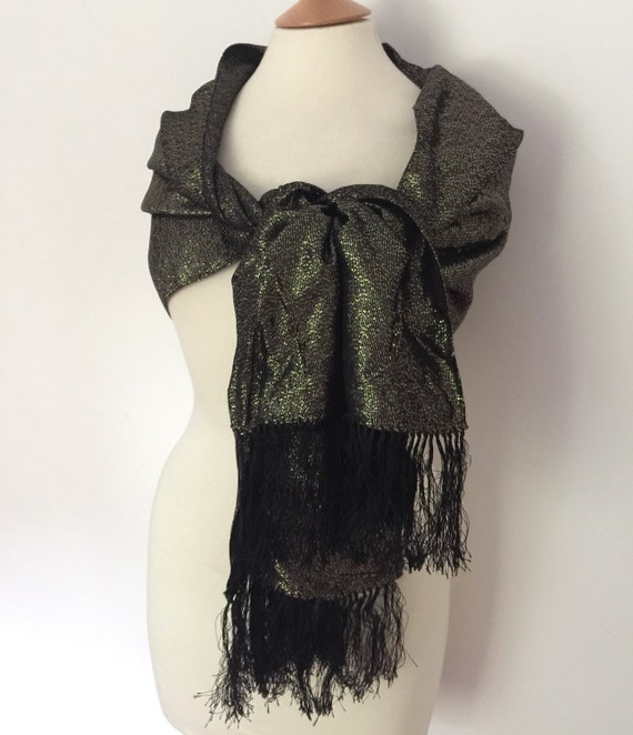 Gold shawl vintage lurex wrap tasselled evening 1960s 1970s black gold weave wedding guest long scarf