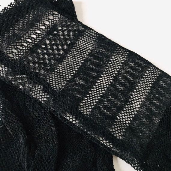 Black net gloves, striped gloves,1950s gloves, 1940s gloves, shorties,size 6 6.5 sheer,acy,fishnet,goth,glam,50s,bridesmaid vintage wedding