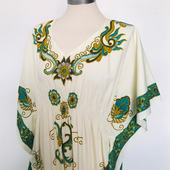 Vintage kaftan,caftan,screen print,ornate print,maxi,muumuu,cream,green,Indian,70s style,beach party,hippie,festival,boho,1970s,8,14,