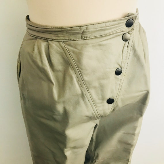 Vintage leather trousers, leather pants, beige leather, High waisted, peg leg, 1980s, 80s pants, Mom pants, size 10