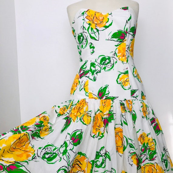 Vintage dress ,rose print, dress, long ballgown, strapless, boned, 80s does 50s, yellow roses, party dress, UK 14, cotton dress, drop waist,