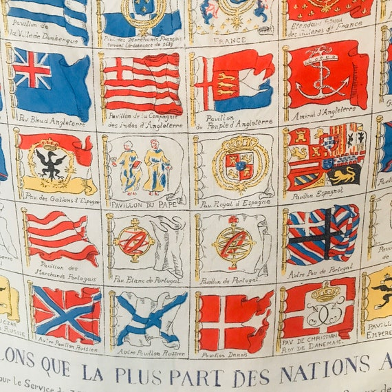 1930s scarf,vintage scarf,silk scarf,maritime,flags,world flags,nautical flags, front roll hem,accessory headscarf, cream,30s,1940s