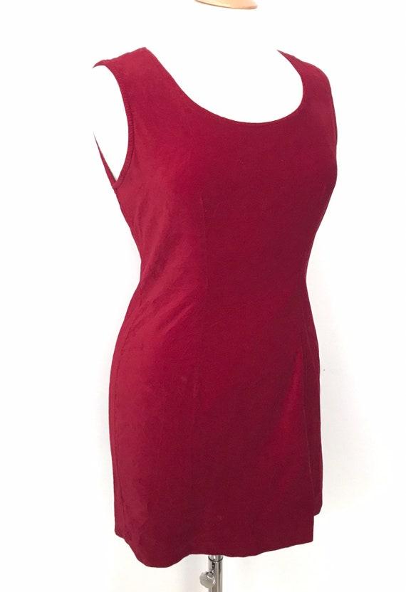 Vintage dress, red velvet dress, mini dress, bombshell, wiggle, shift dress, 90s, 80s, pin up, hourglass UK 12, 14