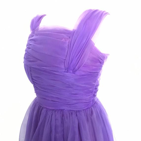 1950s dress,purple,chiffon,1960s dress,circle skirt,boned,strapless,pin up,prom,50s dress,party dress,burlesque,rock n roll,8