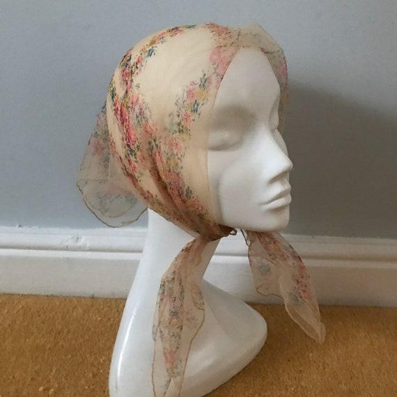1950s scarf,novelty print, scarf, sheer peach scarf, floral trellis, 50s pin up rockabilly, chiffon scarf, 50s head scarf