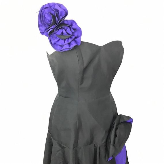 Vintage dress, 80s cocktail dress, rosettes, one shoulder, mermaid prom evening, boned, bustier, purple, black, goth, vintage vamp, UK 8 10,