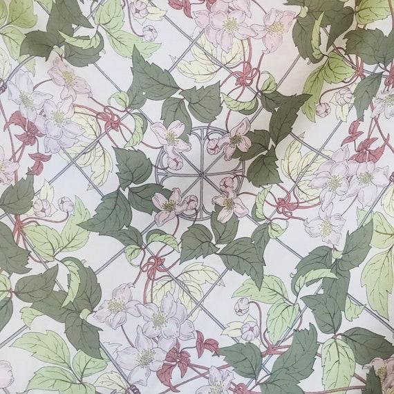 Silk Scarf, Beckford silk, rose print, rose trellis, cute, kawaii, floral, British silk,English rose,vintage scarf,pastel,flowery