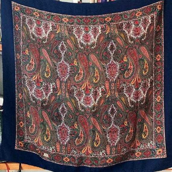 Vintage scarf,silk scarf, paisley print,large silk scarf,vintage square, XL, paisley design, scarf,navy, Liberty of London,40s look turban