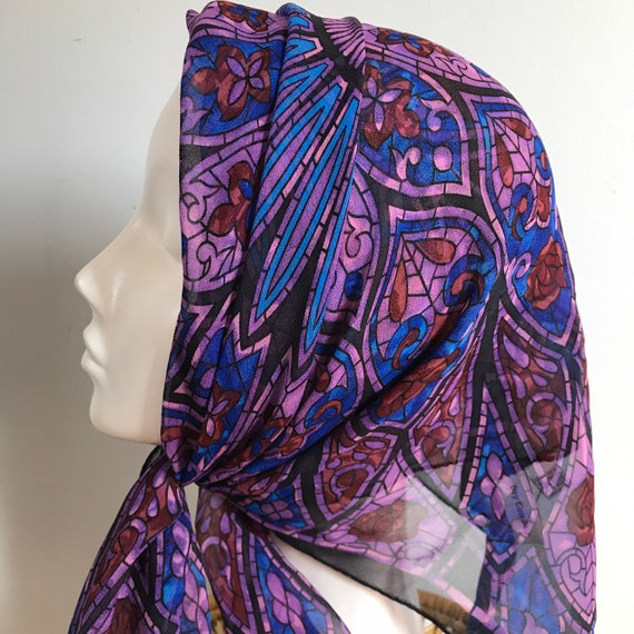Silk Scarf, stained glass window, square, gothic, silk chiffon, collectable, Victorian, victoriana,black and purple, steampunk, gothica