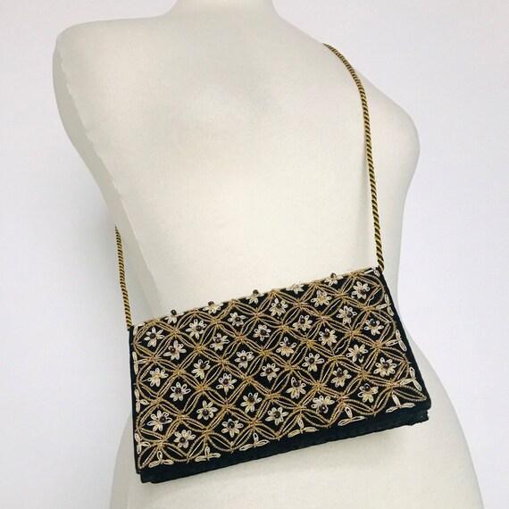 Vintage evening bag,black velvet goldwork,couching,envelope,small purse,40s,50s,medieval,shoulder bag,clutch,rope,vintage wedding,red carpet