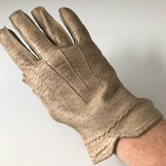 cream leather gloves vintage leather top stitching 1930s original accesories size 8 XL winter thick leather 40s 30s