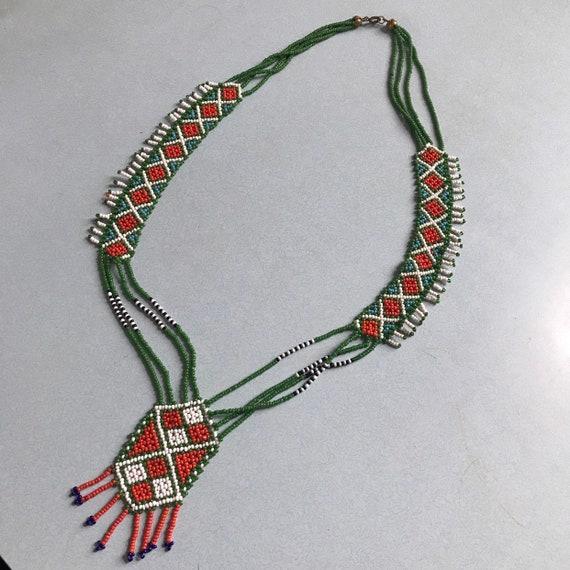 Vintage beadwork,beaded necklace,pendant,Souvenir,boho,1960s,beads,fringed,navajo,hippie,native