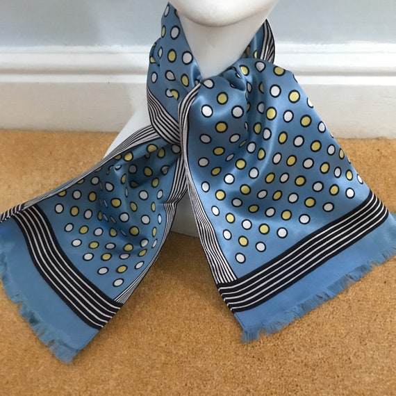 1950s scarf, novelty print,long, oblong scarf, neckerchief, spotty, polka dot, 50s, black and blue, satin, 40s ,vintage scarf, 1940s scarf