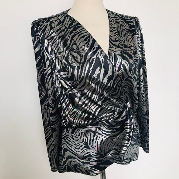 Vintage blouse metallic shirt,cross over,silver,oil slick,peplum,1980s, 80s blouse steampunk,glam,UK 14,fitted bodice,bladerunner