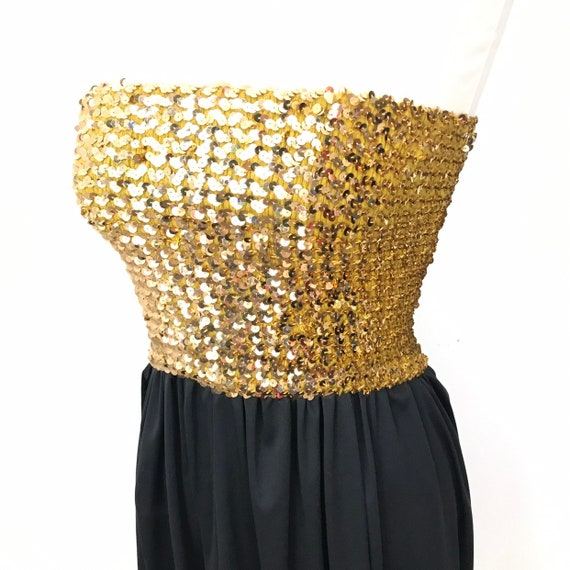 1970s disco dress, vintage sequin dress, gold and black, midi skirt, sequin boob tube, stretchy, 70s dress, sparkly, party gown
