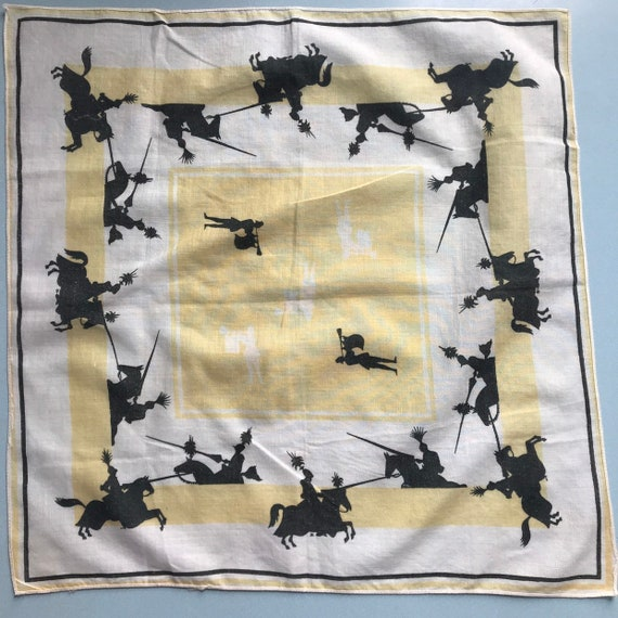 1950s handkerchief,novelty print,jousting,knights,yellow,cotton scarf 50s pin up accessory,lnight in shining armour