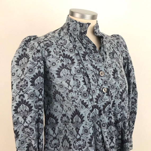 1970s top, vintage Laura Ashley, 70s cotton, block print, cotton chintz, victorian style, flared tunic, altered, boho, hippie, UK 8 10,shirt
