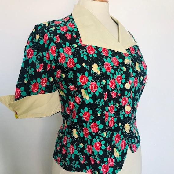 Vintage rose print,40s blouse, rosebud print,1940s style shirt,handmade,UK 12,14,cotton 1950s 1940s,