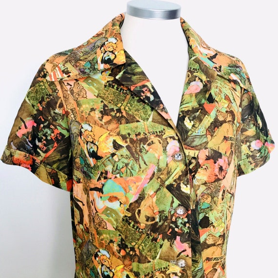 Vintage dress,vintage novelty print,toulouse Lautrec,Mod,1970s,shirt dress,glass look buttons,jersey,cartoon,shift UK 14