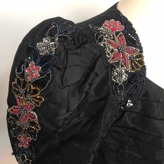 Vintage jacket,beaded jacket,brocade,historical,riding jacket,19th century,steam punk,evening jacket,double breasted,black,goth,glam,UK 10