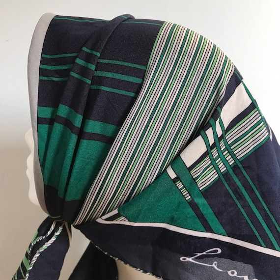 Vintage scarf,Leonardi scarf, striped, geometric,80s, GoGo, 1970s, Mod,green, navy, head scarf, Annie hall, stripey