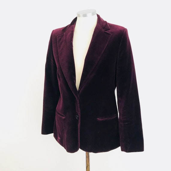 Vintage velvet jacket tuxedo dark red blazer 1970s jacket tailored 70s coat evening UK 10 boho Mod
