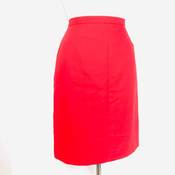 Pencil skirt,vintage skirt,knee length,red skirt,UK 14 12,straight skirt,high waist,1980s,80s skirt,kick pleat,Cherry red
