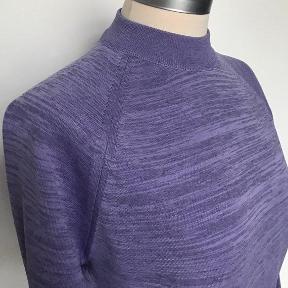 Vintage Mod sweater, lilac, Crimplene,tight sweater,60s,60s jumper,long sleeves,beatnik jumper,fine knit, high neck,raglan, purple