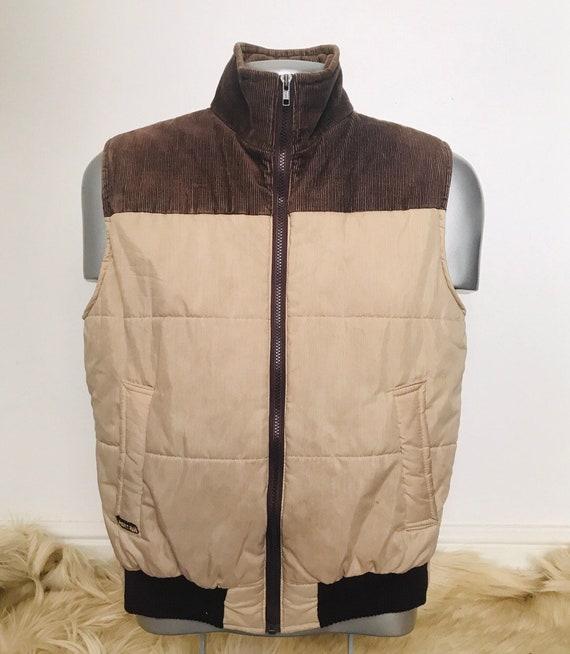 Vintage menswear,vintage gilet, small,sleeveless puffer jacket, 80s,70s, zip up, sports coat,vintage corduroy,beige,1980s style,S