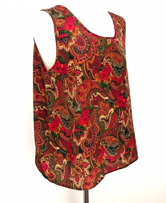 Vintage 1980s, paisley print, silky vest, Uk 14, 16, blouse, 80scami, camisole, thin top 80s nu wave
