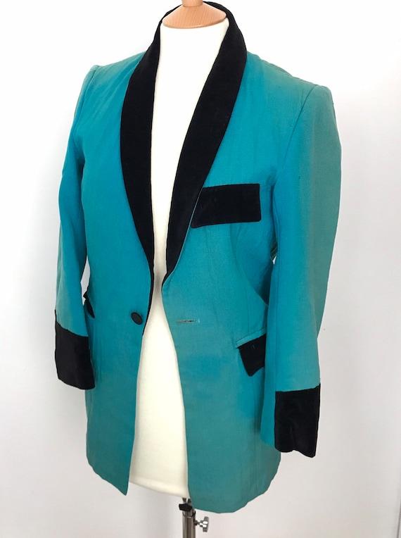 """Vintage teddy boy, teddyboy jacket, small, 1960s blazer, vintage jacket, 38"""" tailored, trashed, thrashed,teddy girl, damaged"""